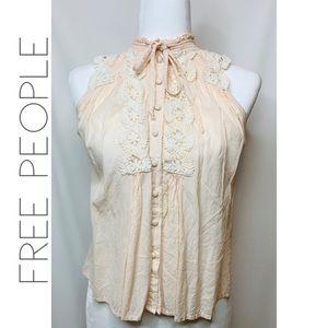 Free People romantic boho high neck tie blouse S